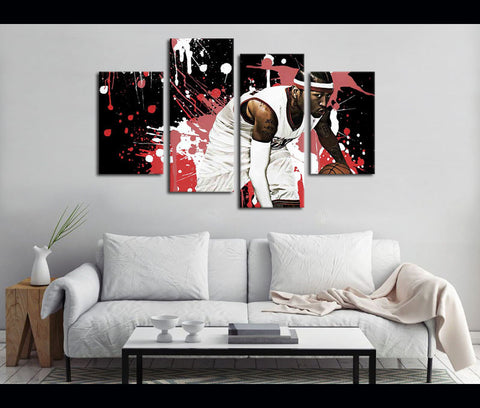 4 Pieces Canvas Art Allen Iverson Basketball Painting Wall Art Canvas Print