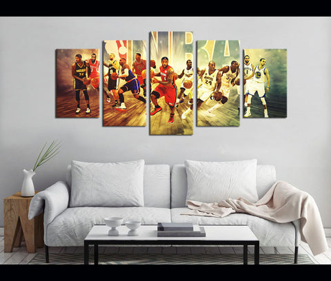 5 Piece Canvas Prints NBA Basketball Canvas Wall Art Deocr
