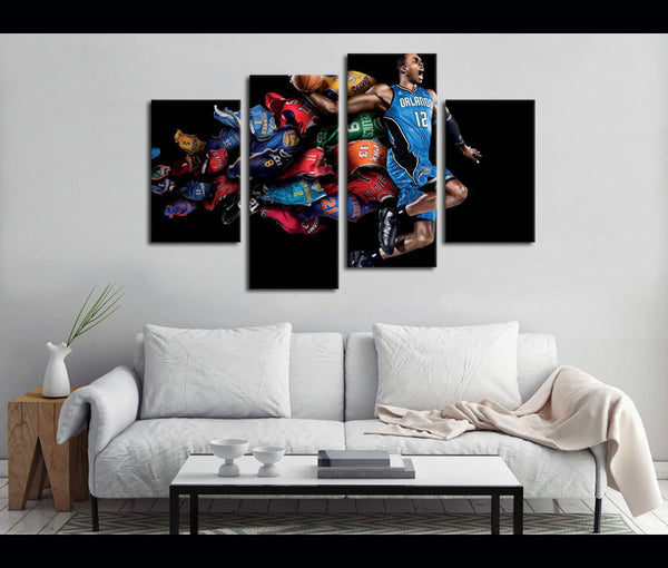 4 Piece Canvas Prints NBA Basketball Canvas Wall Art Deocr