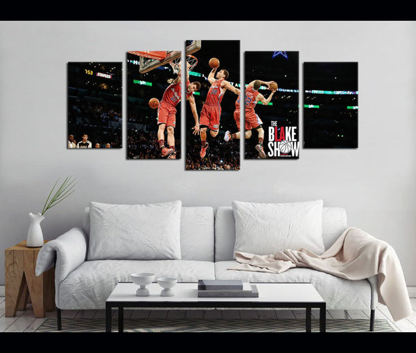 5 Piece Canvas Art Black Griffin Basketball Canvas Wall Art Decor