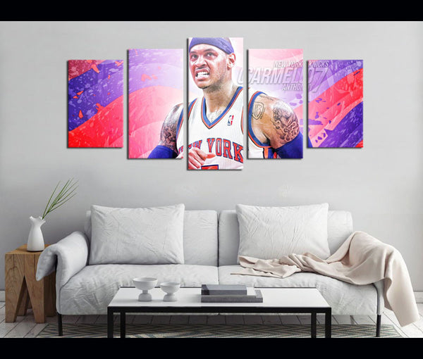 5 Piece Canvas Art Carmelo Anthony Basketball Canvas Wall Art Decor