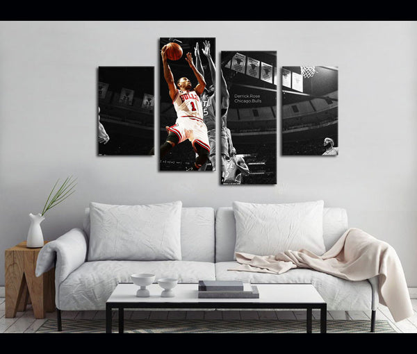 4 Piece Canvas Art Chicago Bulls Basketball Canvas Wall Art Deocr