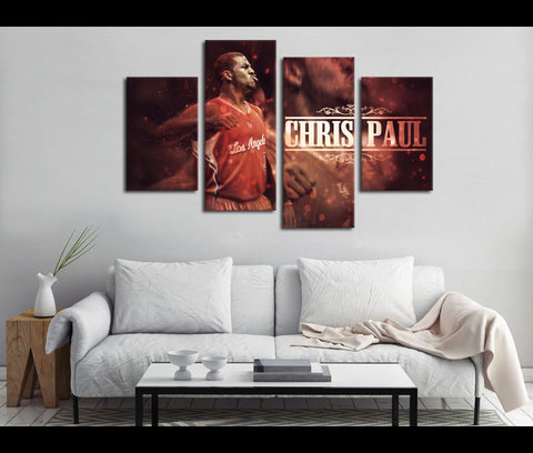 4 Piece Canvas Art Chris Paul Basketball Canvas Wall Art Deocr