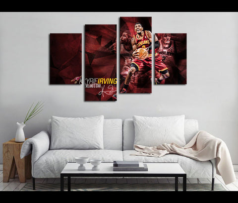 4 Piece Canvas Art Cleveland Cavaliers Basketball Canvas Wall Art Deocr