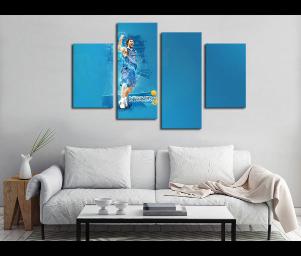 4 Piece Canvas Art Dallas Mavericks Basketball Canvas Wall Art Deocr
