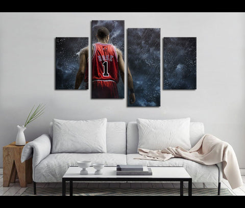 4 Piece Canvas Art Derrick Rose Basketball Canvas Wall Art Deocr