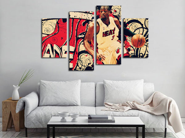 4 Piece Canvas Art Dwyane Wade Basketball Canvas Wall Art Deocr