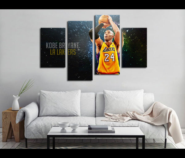 4 Piece Canvas Art Kobe Brynat Basketball Canvas Wall Art Deocr