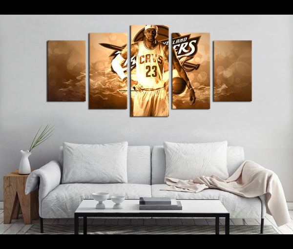 5 Piece Canvas Art Lebron James Basketball Canvas Wall Art Decor