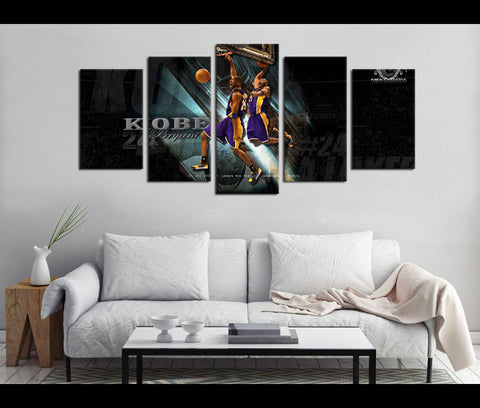 5 Piece Canvas Art Los Angeles Lakes Basketball Canvas Wall Art Decor