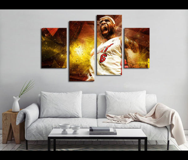 4 Piece Canvas Art Miami Heat Basketball Canvas Wall Art Deocr