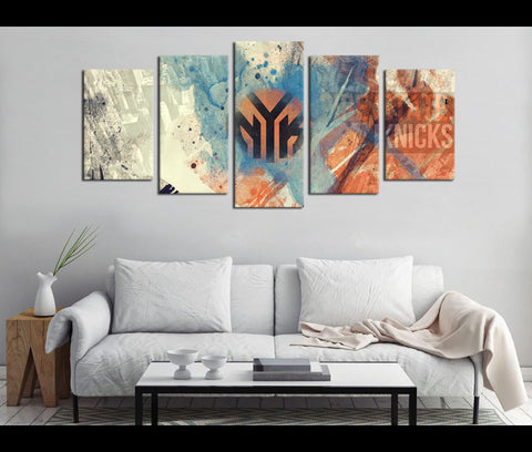 5 Piece Canvas Art New York Knicks Basketball Canvas Wall Art Decor