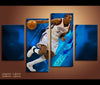 4 Piece Canvas Art OKC Thunder Basketball Canvas Wall Art Decor