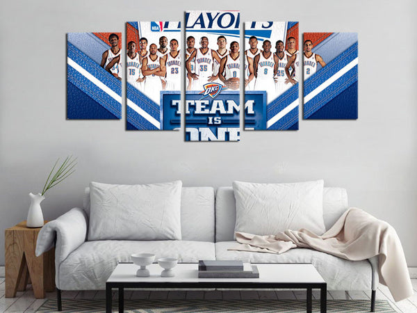 5 Piece Canvas Art OKC Thunder Basketball Canvas Wall Art Decor