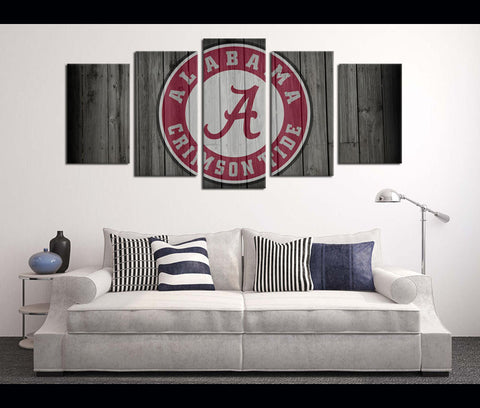 5 Pieces Football Canvas Art Print Alabama Logo Artwork for Wall Decor