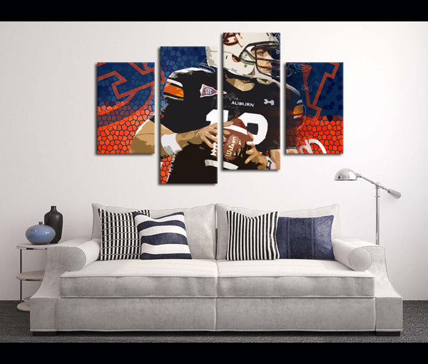 4 Piece Canvas Art Wall Art Canvas Auburn Football