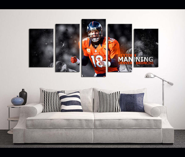 5 Piece Canvas Art Wall Art Decor Broncos Football Canvas