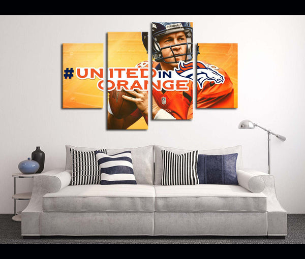 4 Piece Canvas Art Wall Art Broncos Football Canvas