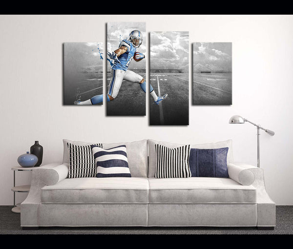 4 Piece Canvas Art Wall Art Decor Calvin Johnson Football Canvas