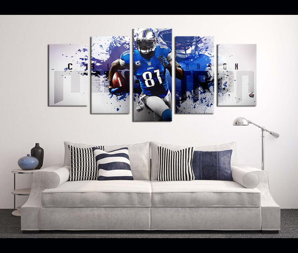 5 Piece Canvas Art Wall Art Decor Calvin Johnson Football Canvas