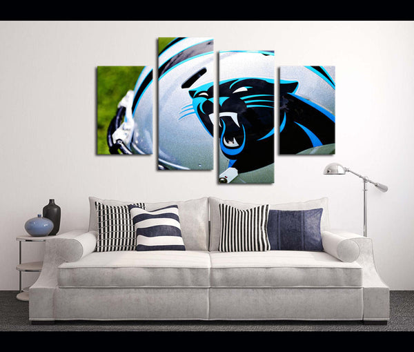 4 Piece Canvas Art Wall Art Decor Carolina Panthers Football Canvas