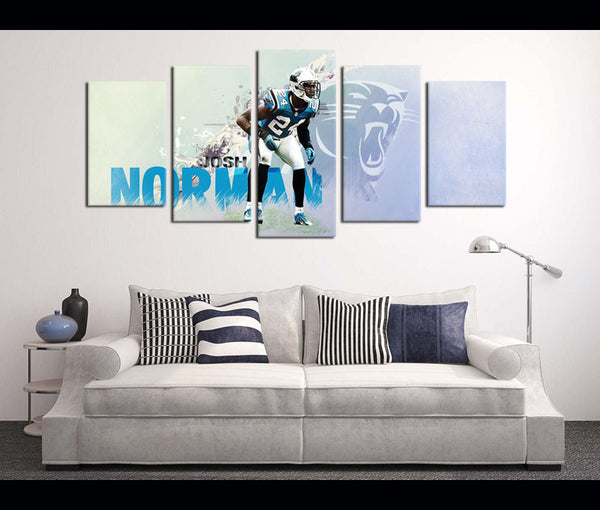 5 Piece Canvas Art Wall Art Decor Carolina Panthers Football Canvas
