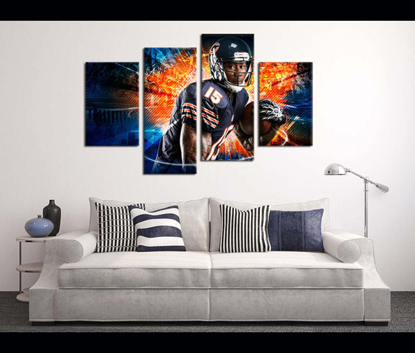 4 Piece Canvas Art Wall Art Decor Chicago Bears Football Canvas