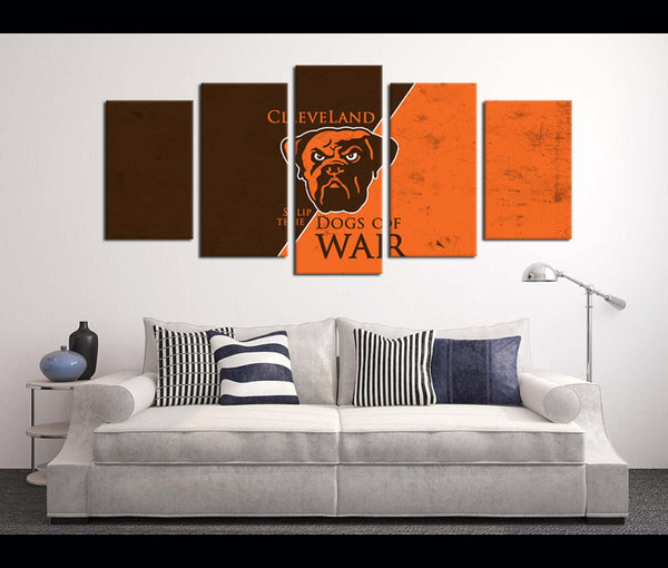 5 Piece Canvas Art Wall Art Decor Cleveland Browns Football Canvas