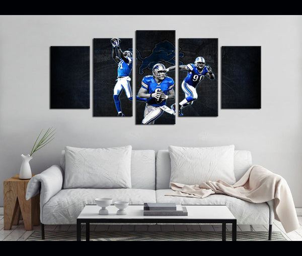 5 Piece Canvas Art Wall Art Decor Detroil Lions Football Canvas