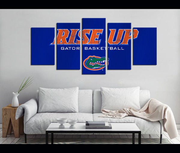 5 Piece Canvas Art Florida Gators Football Logo Canvas Wall Art Decor