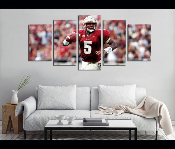 5 Piece Canvas Art FSU Football Logo Canvas Wall Art Decor