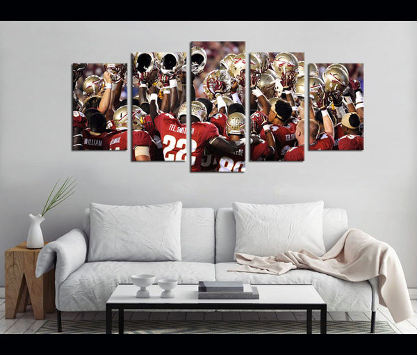 5 Piece Canvas Art FSU Football Canvas Wall Art Decor