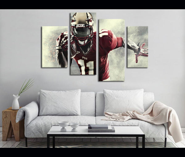 4 Piece Canvas Art FSU Football Logo Canvas Wall Art Deocr