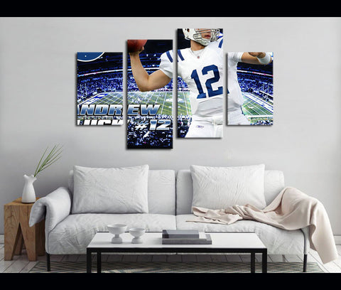 4 Piece Canvas Art Indianapolis Colts Football Logo Canvas Wall Art Deocr