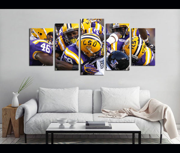 5 Piece Canvas Art LSU Football Canvas Wall Art Decor