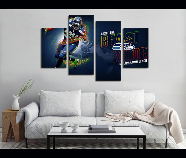 4 Piece Canvas Art Marshawn Lynch Football Logo Canvas Wall Art Deocr