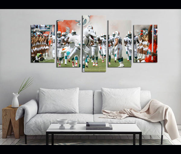 5 Piece Canvas Art Miami Dolphins Football Canvas Wall Art Decor