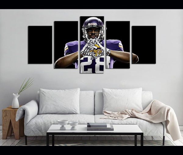 5 Piece Canvas Art Minnesota Vikings Football Canvas Wall Art Decor