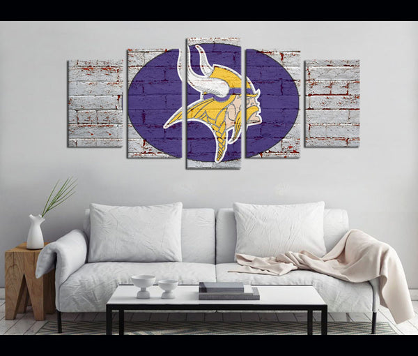5 Piece Canvas Art Minnesota Vikings Football Logo Canvas Wall Art Decor