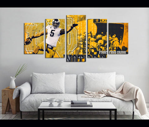 5 Piece Canvas Art IRISH Notre Dame Fighting Irish Football Canvas Wall Art Decor