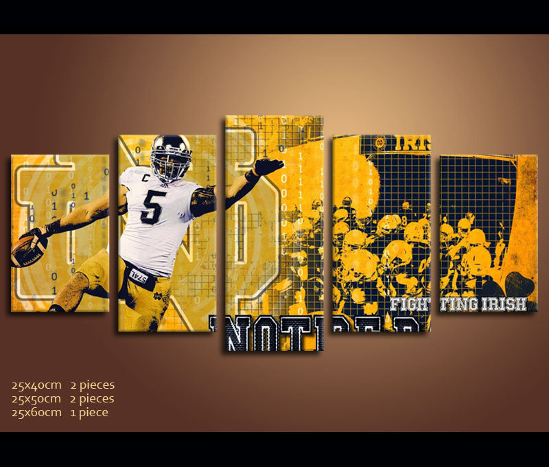 5 Piece Canvas Art IRISH Notre Dame Fighting Irish Football Canvas ...