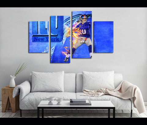 4 Piece Canvas Art New York GIANTS Football Canvas Wall Art Decor