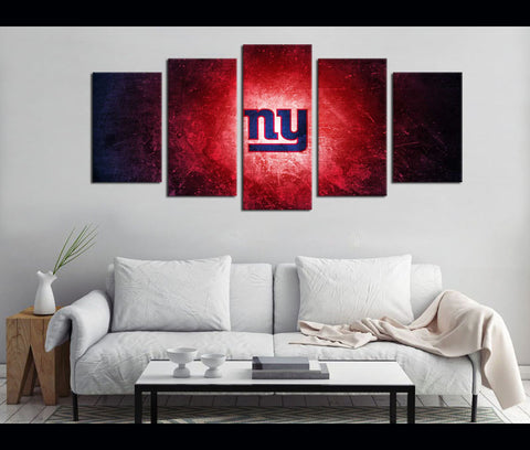 5 Piece Canvas Art New York GIANTS Logo Football Canvas Wall Art Decor