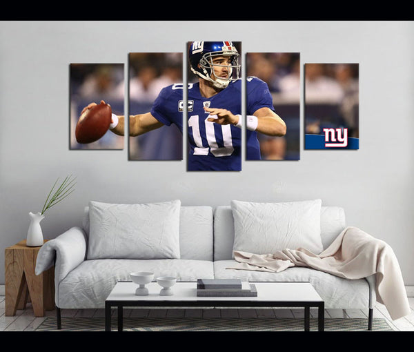 5 Piece Canvas Art New York GIANTS Football Canvas Wall Art Decor