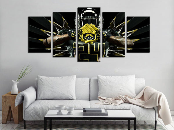 5 Pieces HD Prints Canvas Art Oregon Ducks Logo Football Painting Canvas Wall Art Decor