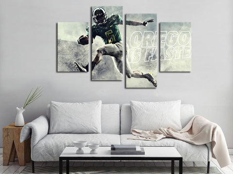 4 Piece Canvas Art Oregon Ducks Football Canvas Wall Art Decor