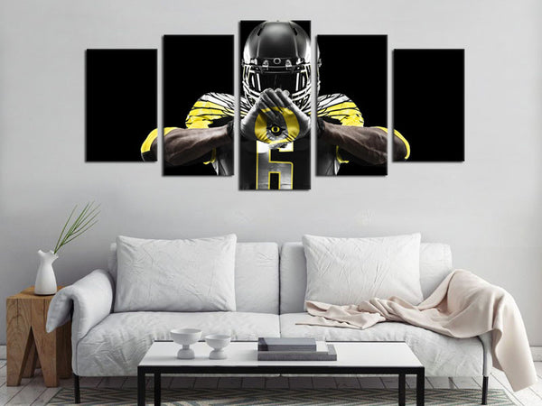 5 Pieces Canvas Art Oregon Ducks Logo Football Canvas Wall Art Decor