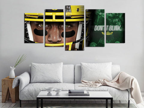 5 Piece Canvas Art Oregon Ducks Logo Football Canvas Wall Art Decor