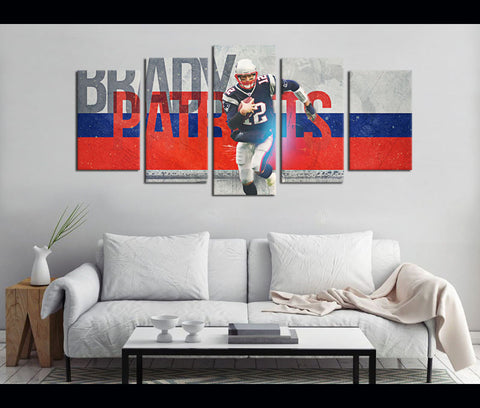 5 Piece Canvas Art Patriots Football Canvas Wall Art Decor