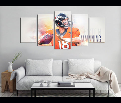 5 Piece Canvas Art Peyton Manning Football Canvas Wall Art Decor